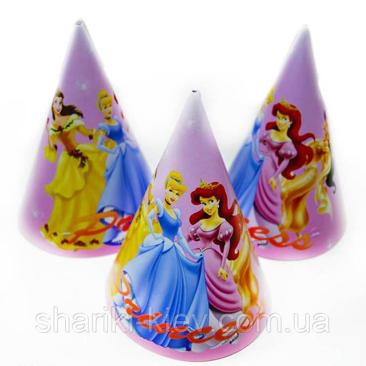 Колпаки большие Принцессы 10 шт. бумажные на День рождения в стиле Принцессы