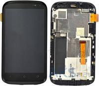 Дисплей (экран) для телефона HTC Desire X T328e + Touchscreen with frame Original Black
