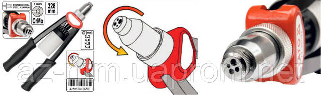 Заклепочники ручные для вытяжных заклепок