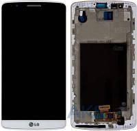 Дисплей (экран) для телефона LG G3 D855 + Touchscreen with frame Original White