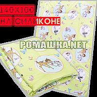 Одеяло детское 140х100 см на силиконе в детскую кроватку, кровать, верх хлопок 019 Зеленый