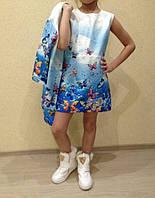 Комплект нарядный для девочки платье и жакет синие бабочки фактурная ткань