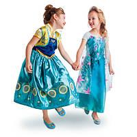 Набор из двух костюмов для девочек принцесса Анна и королева (принцесса) Эльза, Холодное сердце, Летнее солнце
