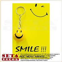 """Брелок """"Смайлик"""" с позитивной открыткой Smile жёлтый (открытка)"""