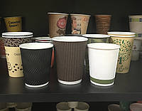 Картонные стаканчики (собственное производство, разные объём, цвет, с крышкой/без крышки, гофрированные/нет)
