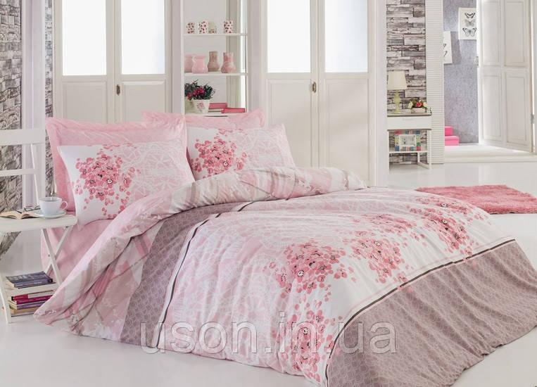 Комплект постельного белья евро размер Ранфорс  cotton box Angel Pembe