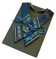 Детский кросс-галстук с вышивкой сине-желтый, фото 1