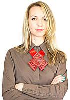 Кросс-галстук с вышивкой красный