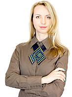 Кросс-галстук с сине-желтой вышивкой
