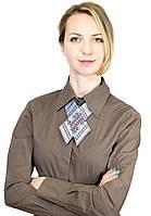 Серый женский галстук-бант с  вышивкой