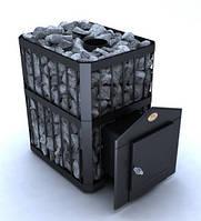 Дровяная каменка для бани Новослав Пруток ПКС-02П выносная топка, кожух черный, дверка металлическая