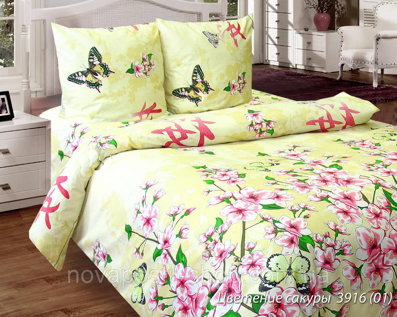 Ткань для постельного белья, бязь белорусская Цветение сакуры