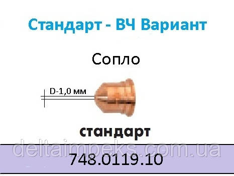 Сопло плазменное, Ø 1,0 ABIСUT 75 748.0119.10