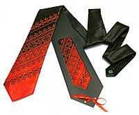 Галстук с вышивкой черно-красный дуэт