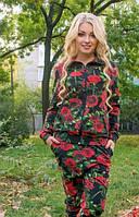 Женский  Костюм спортивный принт DG черный с красными розами