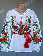 Красочная насыщенная детская вышитая блуза в комплекте с поясом