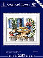 """Набор для вышивания """"Цветочный дворик"""" DOME (печать на канве)"""