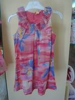 Платья летние платье ворот в жабо, желтые лилии,впереди 2 встречн вытачки дев. коралл-мультиколор 100 % хлопок