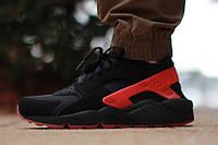 Кроссовки Nike Huarache\Найк Аир Хуараче, черно-красные, к11103