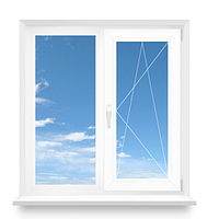 Окно двухстворчатое Rehau металлопластиковое 1200х1400 Euro-Design 60 с однокамерным стеклопакетом 4/16/4, фото 1