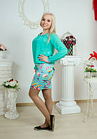 Женский костюм с юбкой мята, фото 1