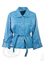 Голубая кожаная куртка женская (размер S), фото 1