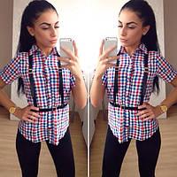 Рубашка модная в цветную клетку с коротким рукавом. Артикул SR14