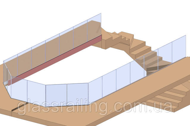 проект стеклянного ограждения 3d