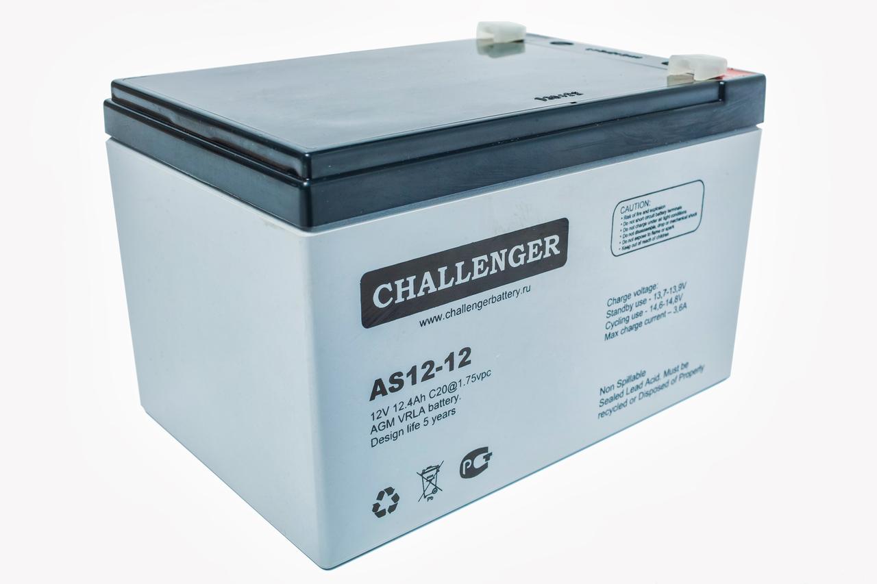 Аккумулятор AGM - 12 Ач, 12В гелевый Challenger AS12-12