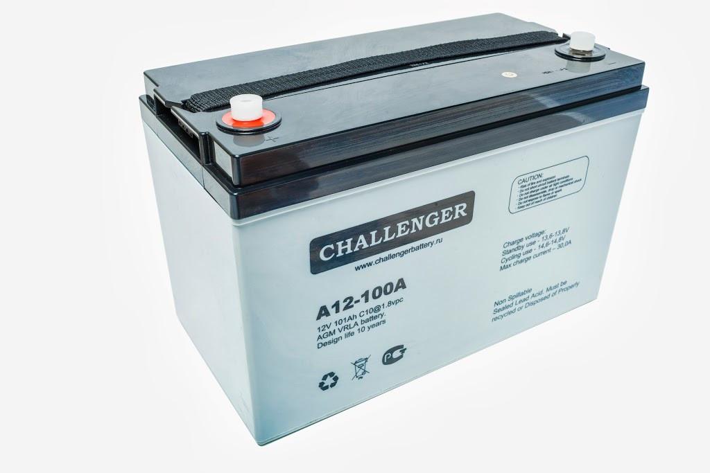 Аккумулятор AGM - 100 Ач, 12В гелевый Challenger A12-100A