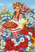 """БИС 2812 Рисунок на ткани для вышивки бисером """"А я просто українка, україночка!"""""""