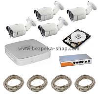 Комплект видеонаблюдения KIT-DVR-4 IP POE 20м+HDD