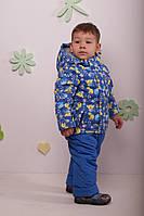 Демисезонный комплект на флисе (штаны на бретельках + куртка)для мальчиков, Babyline,синий,весна