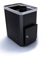 Дровяная каменка для бани Новослав Классик ПКС-02Ч топка изнутри парной, кожух черный, дверца со стеклом
