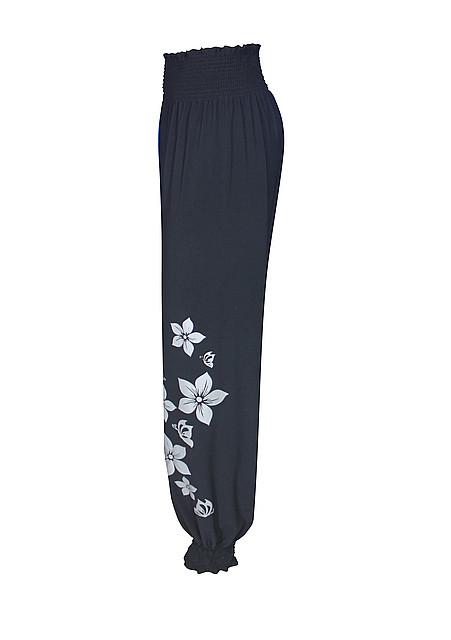 Широкие шаровары на резинке Цветы