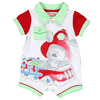 Человечки песочник зайчик на машинке, ворот салатовый, рукава красные, накл карман мал. белый 100 % хлопок 141
