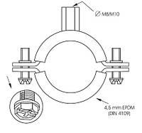 Хомуты  металлические с виброгасителем 1/4'' 12-14 мм.