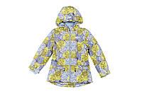 Куртка на флисе для девочки ,Baby Line, демисезонная, желтая, принт, одуванчик