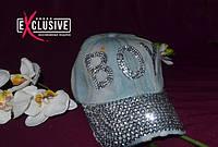 Джинсовая кепка со стразами  BOY.