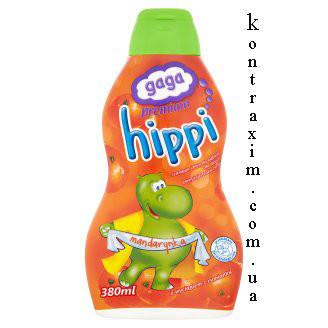 GAGA Премиум Hippi Шампунь и гель для ванны для детей старше 1 года мандарин 380 мл, фото 2