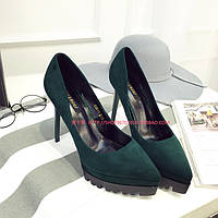 Замшевые туфли на рифленой подошве, 3 цвета, фото 1