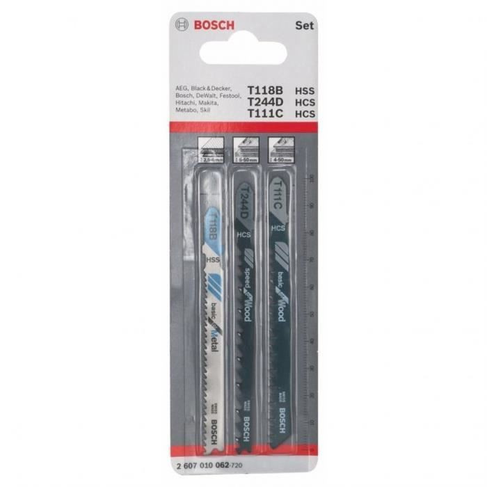 Пилки лобзиковые Bosch 3 шт SORT набор