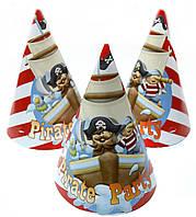 Колпаки средние Пираты 10 шт. бумажные на День рождения в стиле Пираты