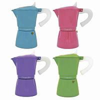 Кофеварка гейзерная  300мл (6 чашек) 4 цвета из алюминия 2507