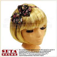 """Обруч на голову для волос """"Двойной бантик"""" в цветочек"""