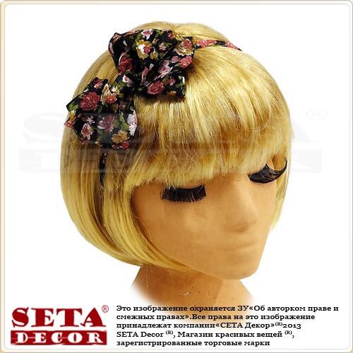 """Обруч на голову для волос """"Двойной бантик"""" в цветочек - Компания """"Seta Decor"""" в Киеве"""