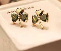 Сережки LOUIS VUITTON ювелірна біжутерія золото 14К кристали Swarovski