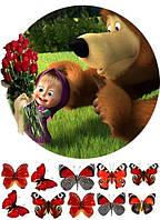 Маша и медведь 3 Вафельная картинка