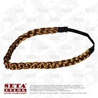 Повязка-резинка коричневая Косичка для волос на голову