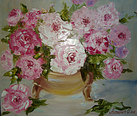 """Картина на холсте маслом """"Розы в вазе"""""""